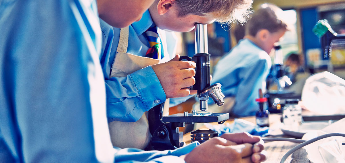 Boys using microscope